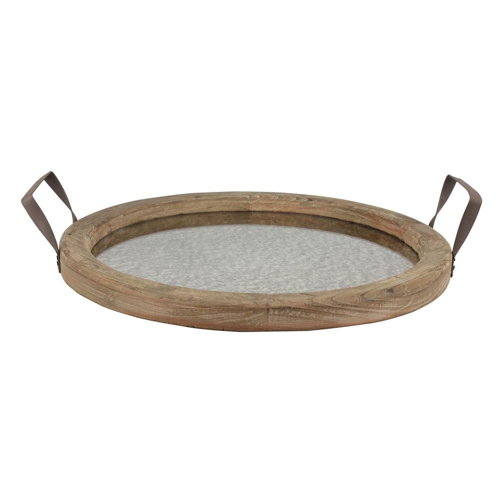 13.5 in. x 15.5 in. Rustic Brown Wood Tray with Distressed