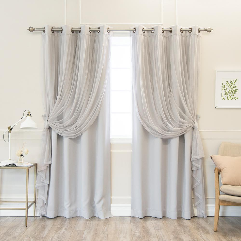 84 in. L uMIXm Grey Colored Tulle and Blackout Curtain Panel