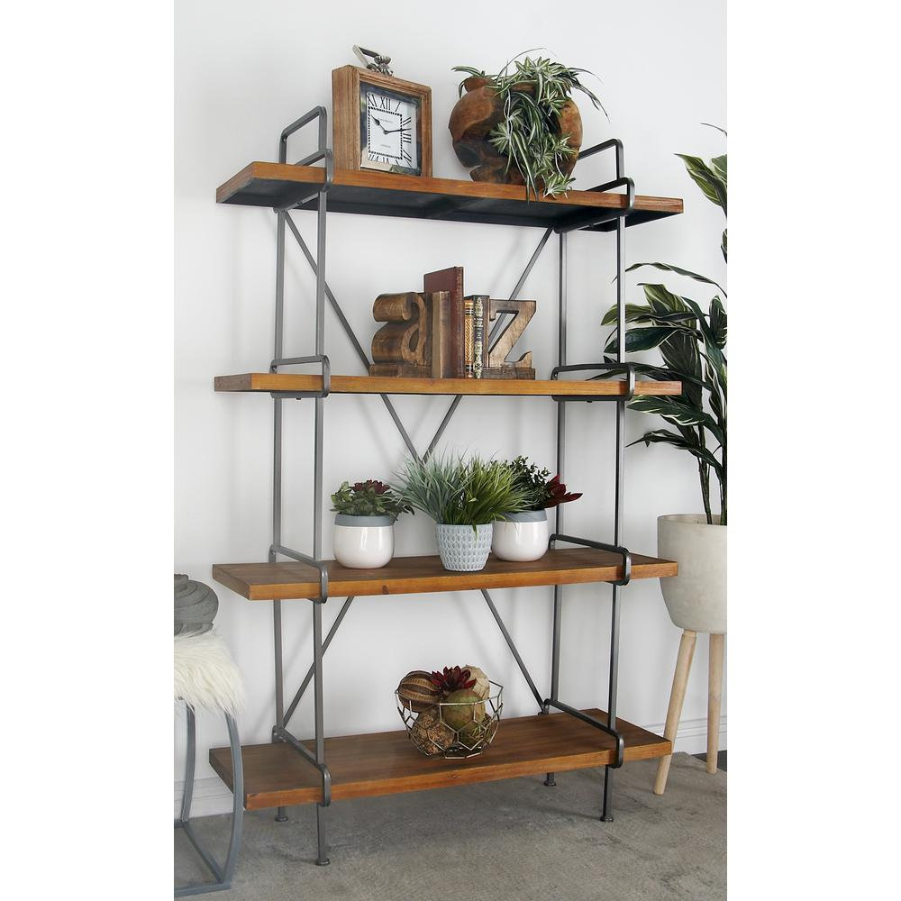 Litton Lane Brown Wood 4-Tier Shelf with a Polished Gray Iron Frame ...