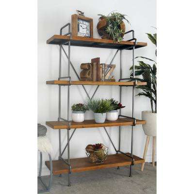 Brown Wood 4-Tier Shelf with a Polished Gray Iron Frame