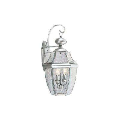 2-Light Brushed Nickel Outdoor Wall Lantern