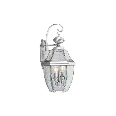 2-Light Brushed Nickel Outdoor Wall Lantern Sconce