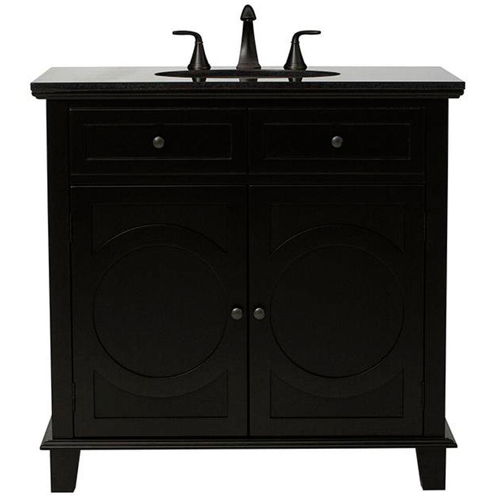 Home Decorators Collection Hudson 36 in. Vanity in Black with Natural Marble Vanity Top in Black