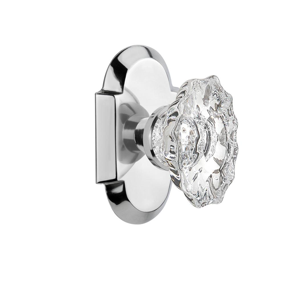 Cottage Plate 2-3/4 in. Backset Bright Chrome Privacy Chateau Door Knob