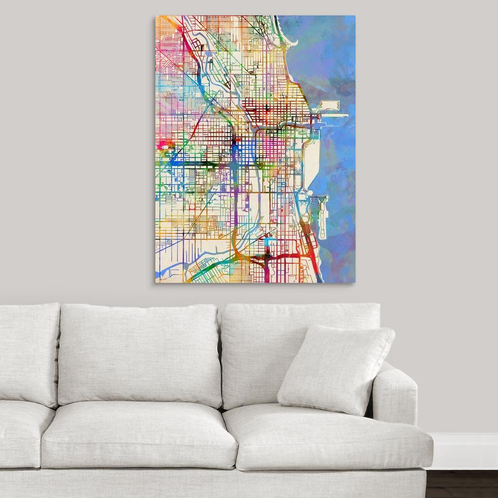 Chicago Map Canvas.Greatbigcanvas 30 In X 40 In Chicago City Street Map By Michael