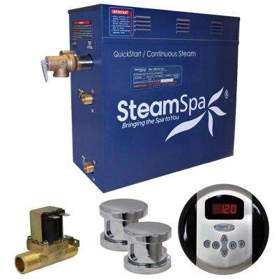 Oasis 12kW QuickStart Steam Bath Generator Package with Built-In Auto Drain in Polished Chrome