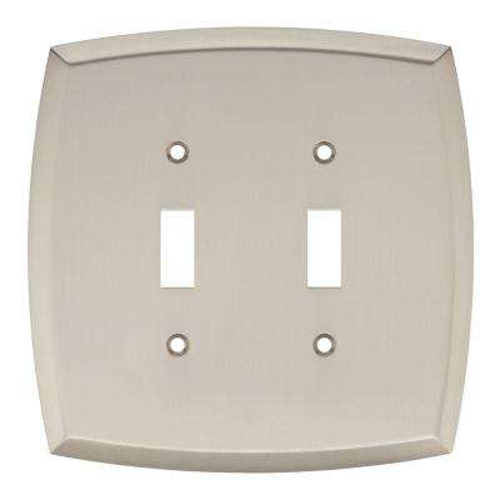 Mandara Decorative Double Switch Plate, Brushed Nickel