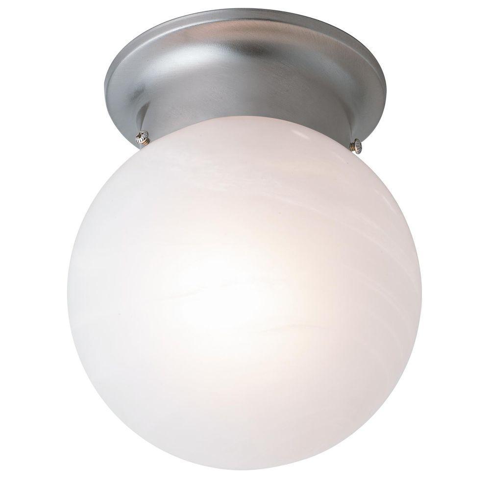 Bel Air Lighting Stewart 1-Light Brushed Nickel Incandescent Ceiling Flushmount