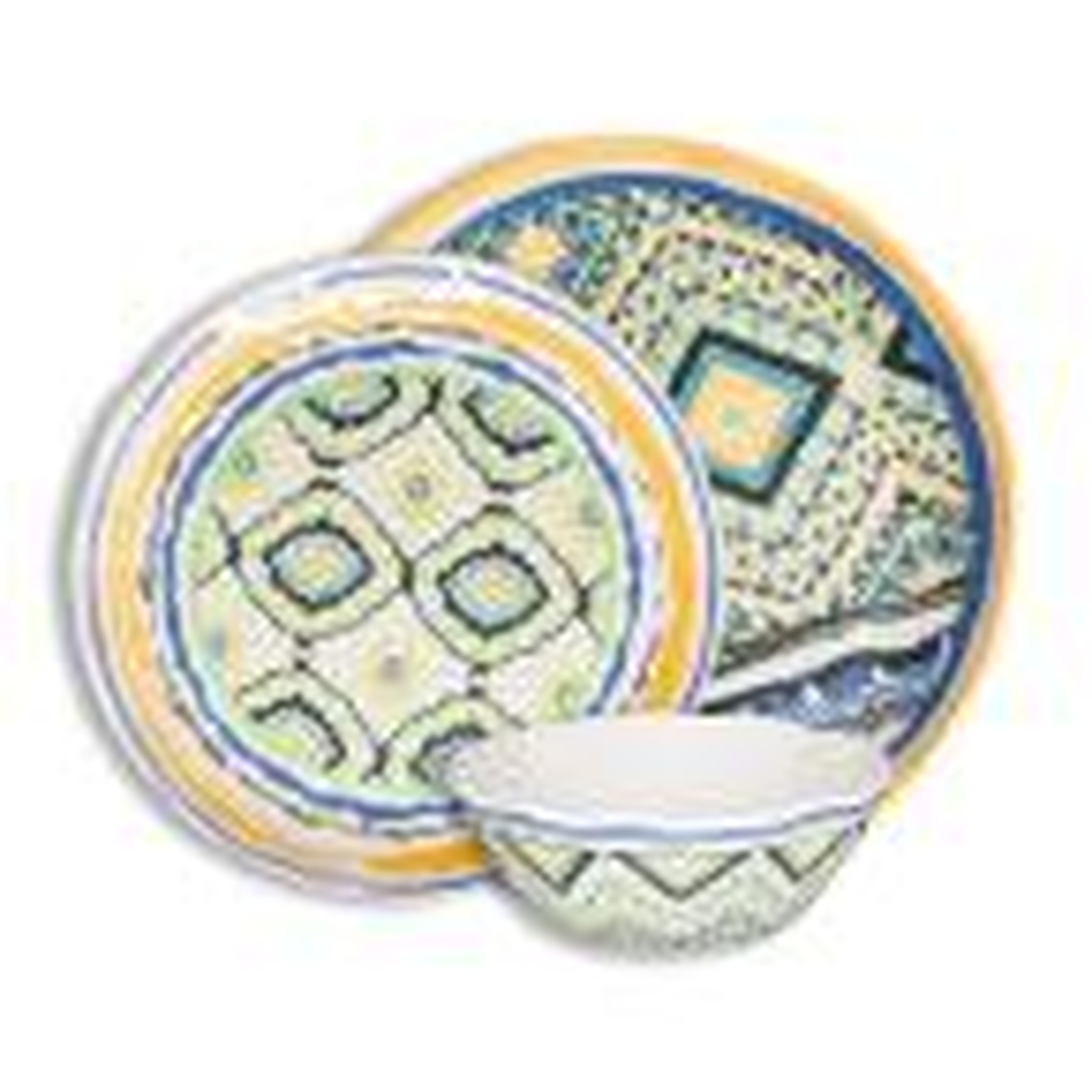 Porto Santo Mixed 12-Piece Melamine Dinnerware Set