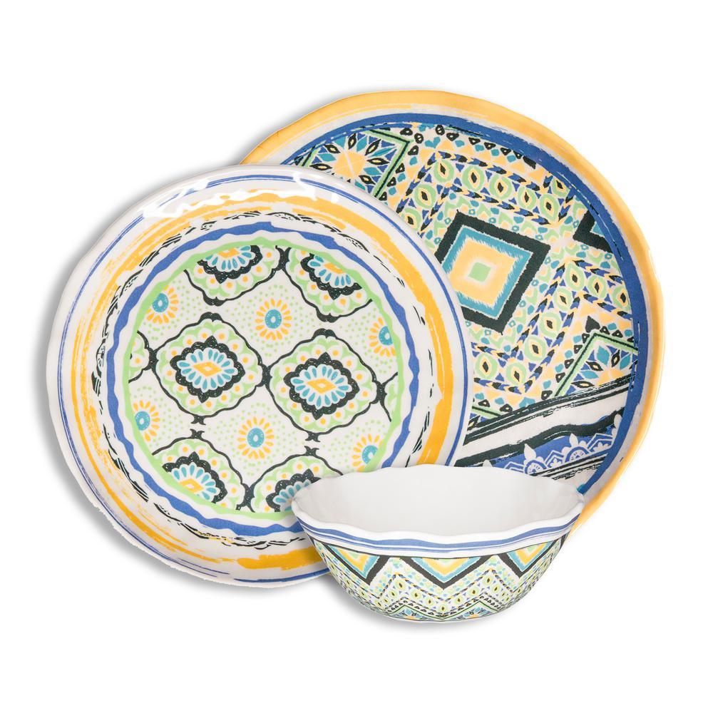 Porto Santo 12-Piece Casual Mixed Melamine Outdoor Dinnerware Set (Service for 4)