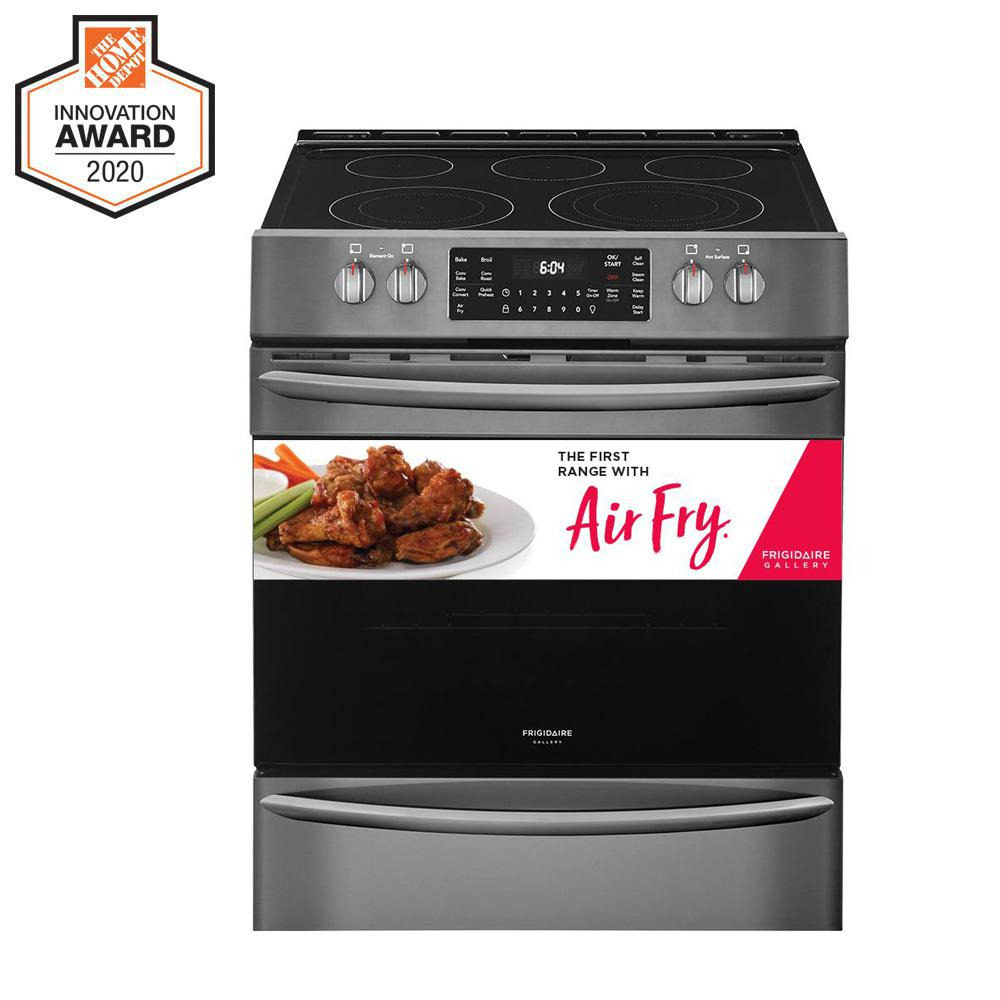 FRIGIDAIRE GALLERY 30 in. 5.4 cu. ft. Front Control Electric Range with Air Fry in Black Stainless Steel