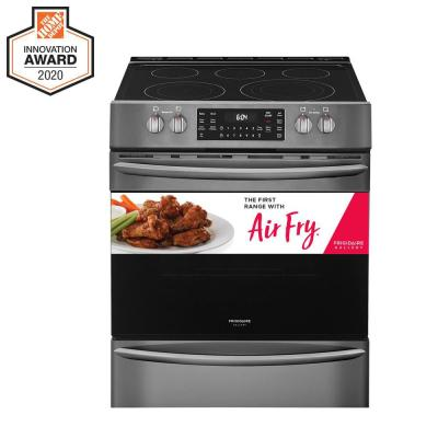 30 in. 5.4 cu. ft. Front Control Electric Range with Air Fry in Black Stainless Steel