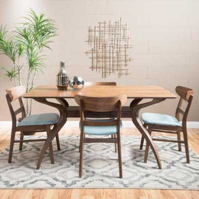Idalia 5-Piece Mint and Natural Walnut Dining Set