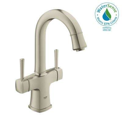 Grandera Single Hole 2-Handle 1.2 GPM Bathroom Faucet with Handles in Nickel InfinityFinish