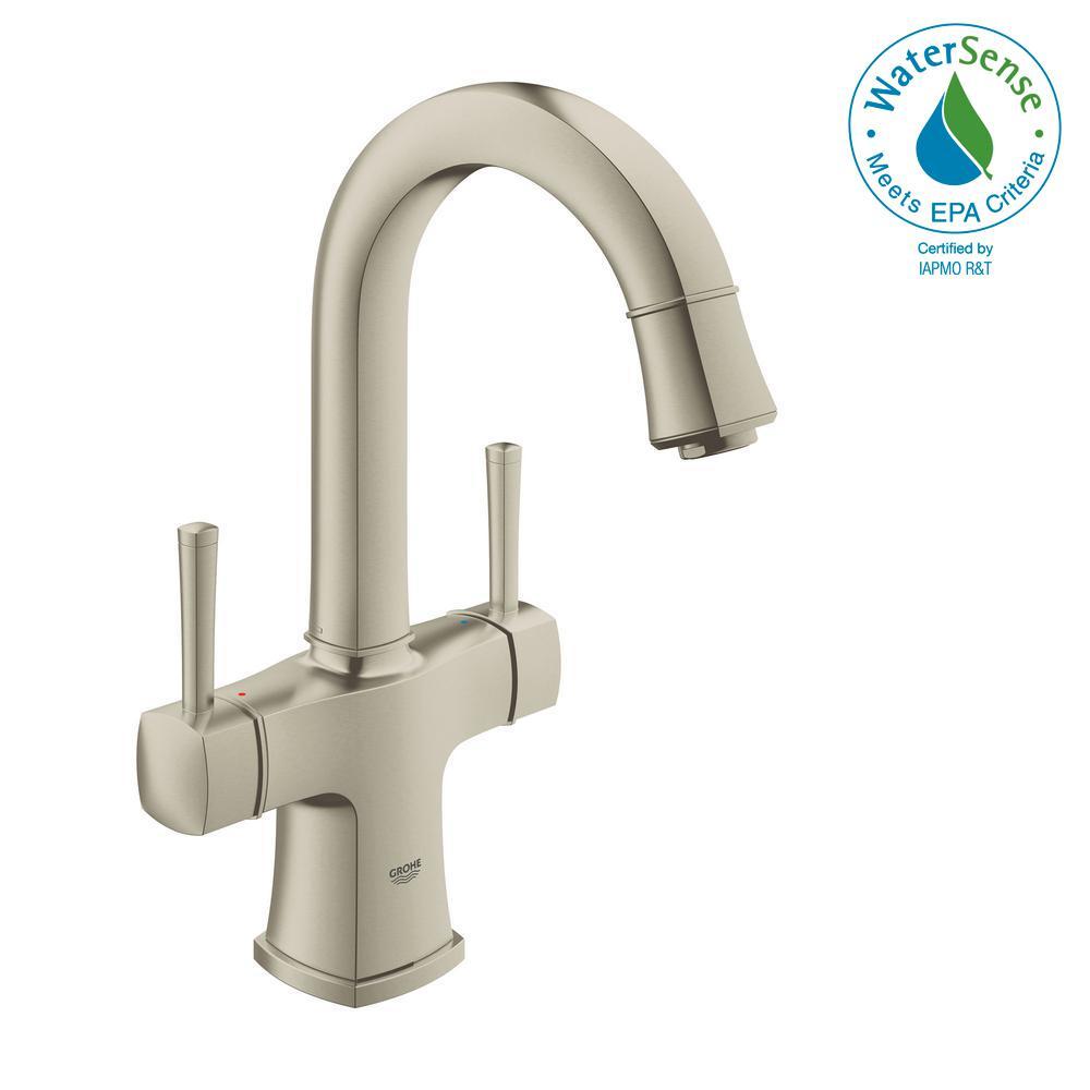 Grandera Single Hole 2-Handle 1.2 GPM Bathroom Faucet with Handles in Nickel InfinityFinish