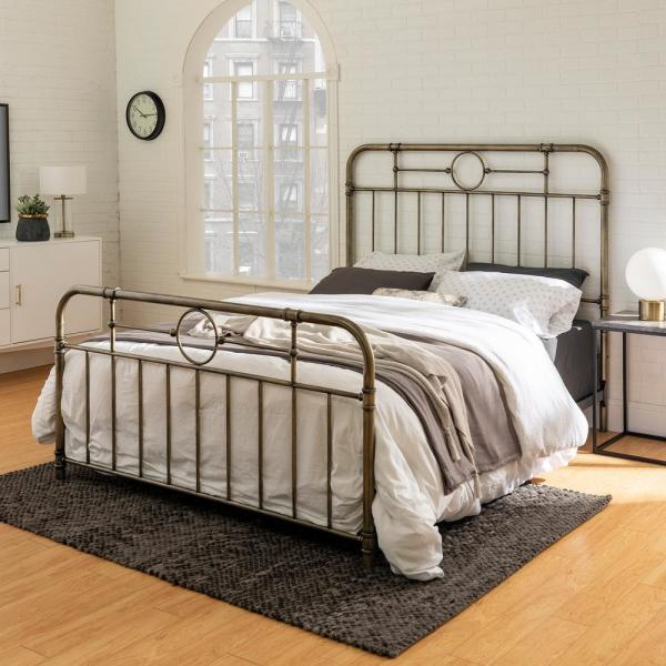 Walker Edison Furniture Company Rustic, White Brass Queen Bed