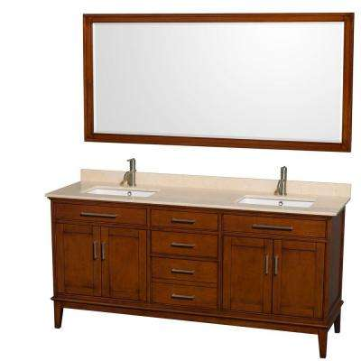 Hatton 72 in. Vanity in Light Chestnut with Marble Vanity Top in Ivory, Square Sink and 70 in. Mirror