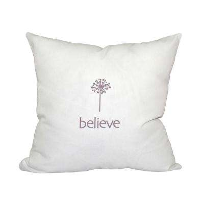 16 in. x 16 in. Lavender Make a Wish Word Print Pillow