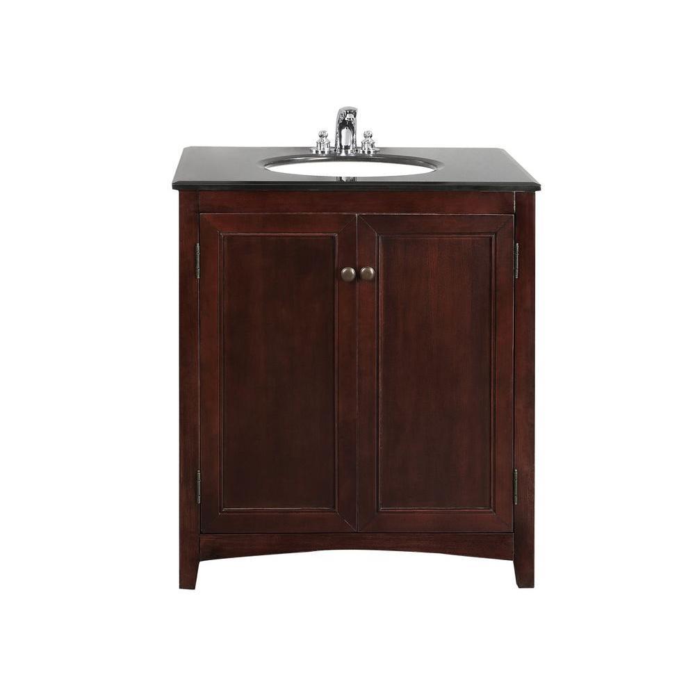 Simpli Home Yorkville 30 in. Vanity in Walnut Brown with Granite Vanity Top in Black and Undermounted Oval Sink