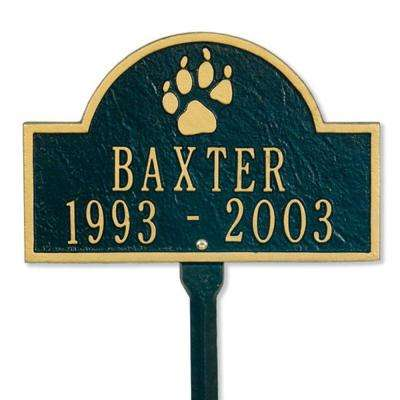Pet Paw Mini Arch Black/Gold Two Line Lawn Marker