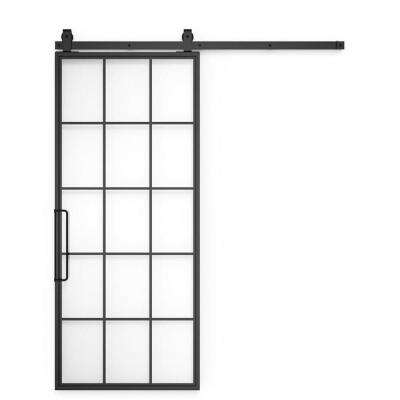 36 in x 96 in Mountain French Black Steel and Glass Barn Door with Sliding Hardware Kit and Left Handed Pull