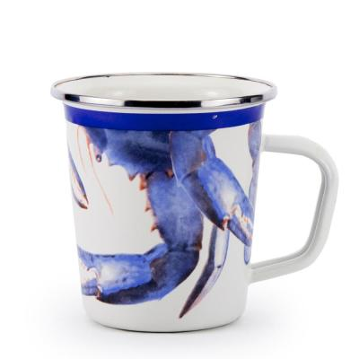 Blue Crab 16 oz. Enamelware Latte Mug