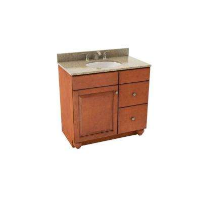 Charlottesville 37 in. Vanity in Cognac with Right Drawers and Silestone Quartz Vanity Top in Quasar and Oval White Sink