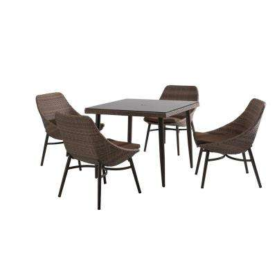 Century 5-Piece Patio Dining Set with Brown Cushions