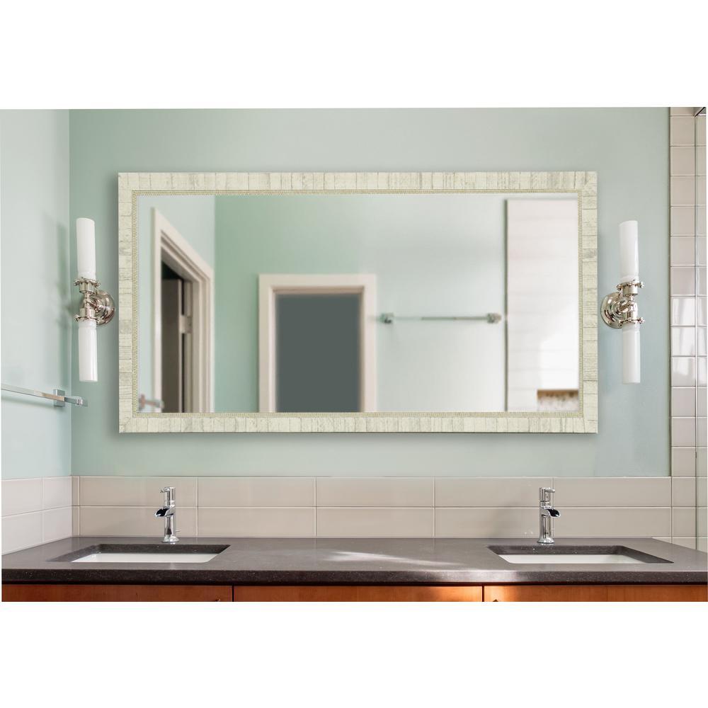 30 in. W x 65 in. H Framed Rectangular Bathroom Vanity Mirror in Ivory