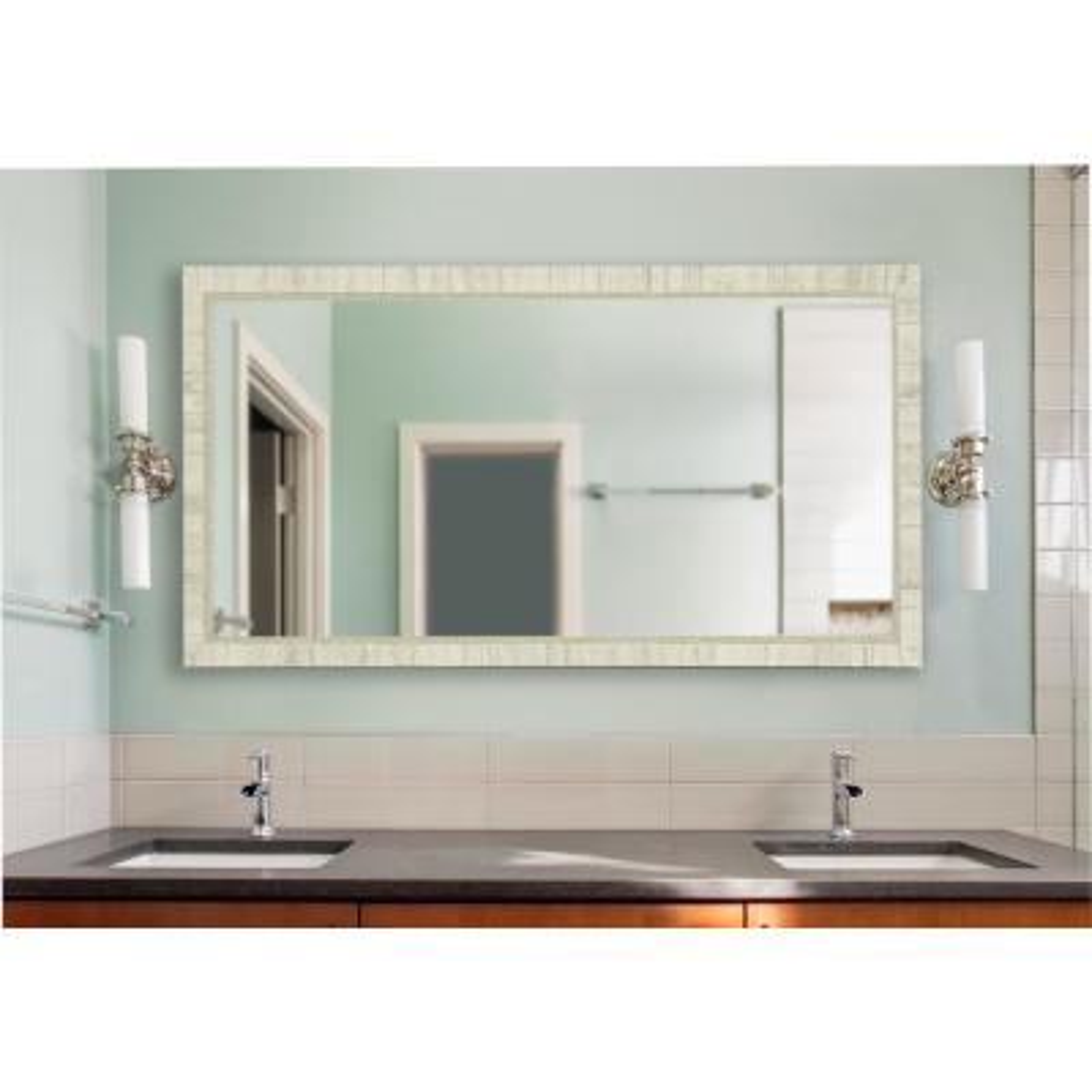 30 in. W x 59 in. H Framed Rectangular Bathroom Vanity Mirror in Ivory