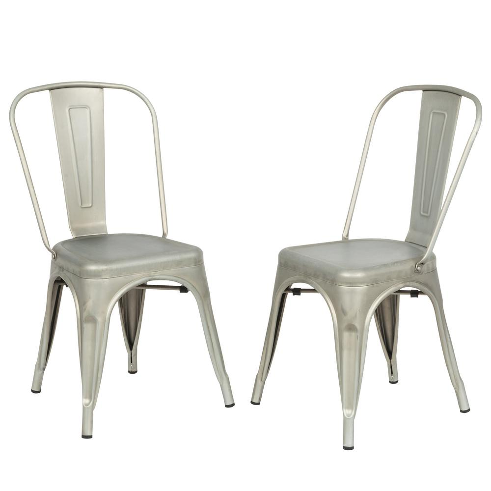 Adeline Galvanized Metal Stacking Dining Chair Set Of 2