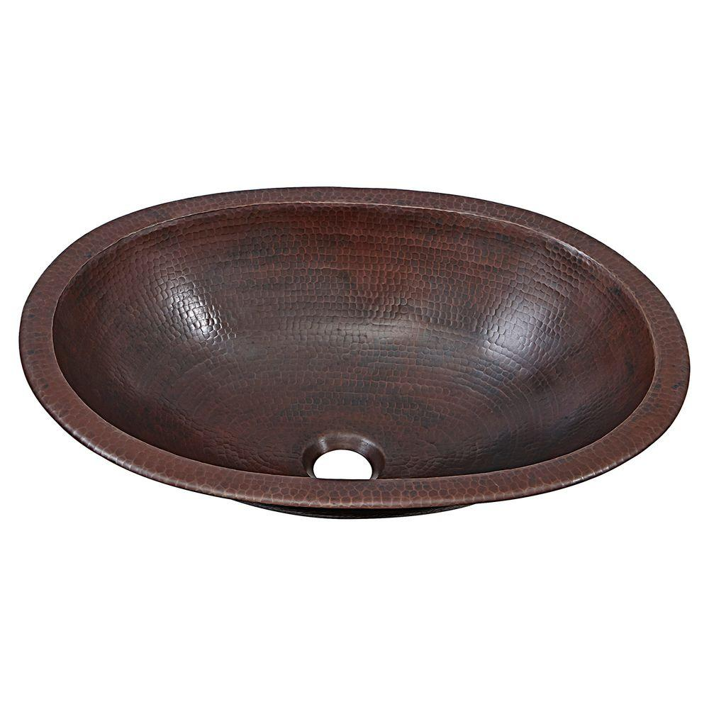 Sinkology Wallace Dual Mount Handmade Pure Solid Copper Bathroom Sink In Aged