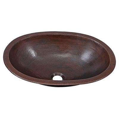Wallace 19 in. Undermount or Drop-In Solid Copper Bathroom Sink in Aged Copper
