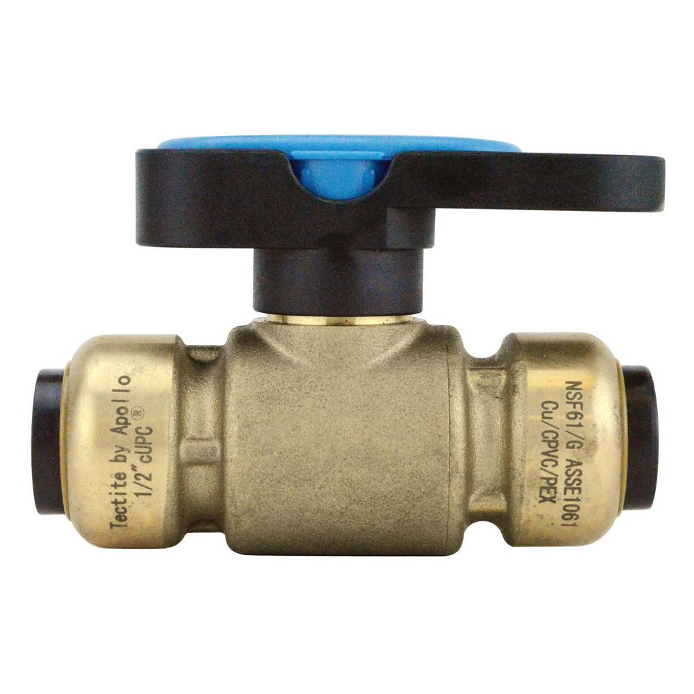 Tectite 1/2 in. Brass Push-To-Connect Compact Ball Valve with Lockable Handle