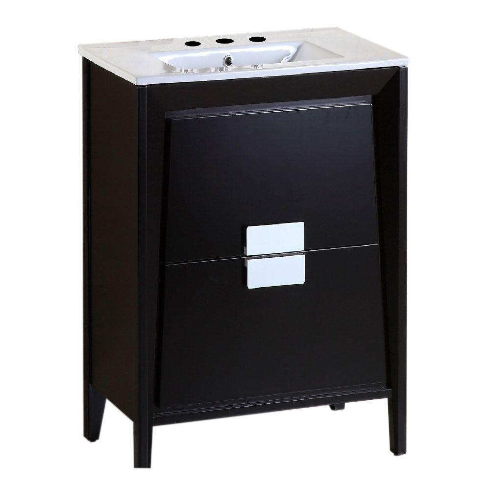Bellaterra Home Calimesa 24 in. W x 18 in. D Single Vanity in Dark Espresso with Ceramic Vanity Top in White with White Basin