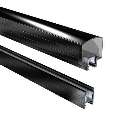 6 ft. Aluminum Hand and Base Rail in Black