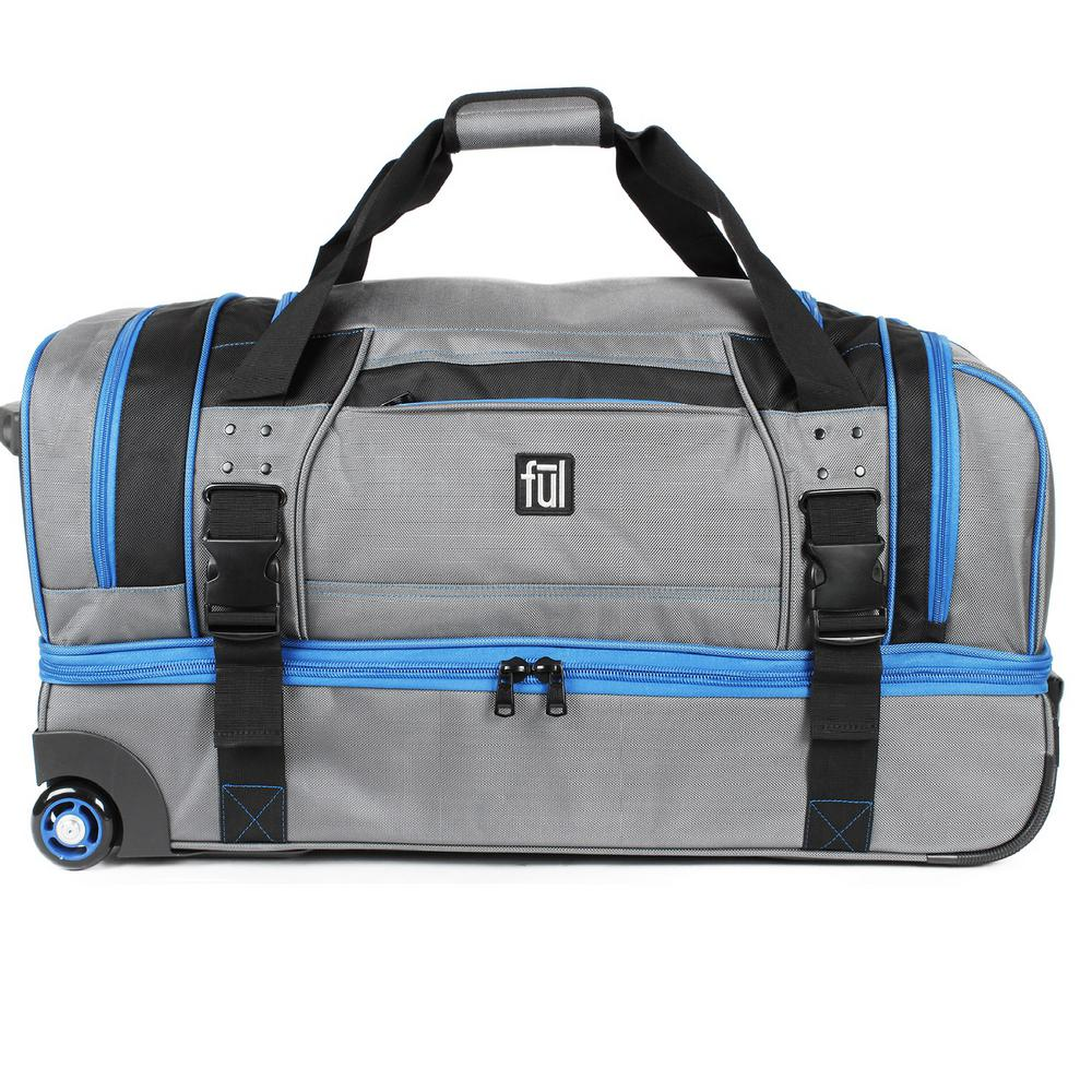 Streamline 30 in. Grey Soft Rolling Duffel Bag Retractable Pull Handle