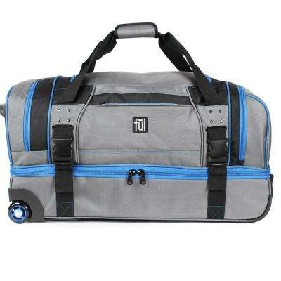 Streamline 30 in. Grey Soft Rolling Duffel Bag Retractable Pull Handle Split Level Storage