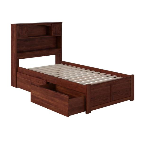 Newport Walnut Twin Platform Bed with Flat Panel Foot Board and 2-Urban Bed Drawers