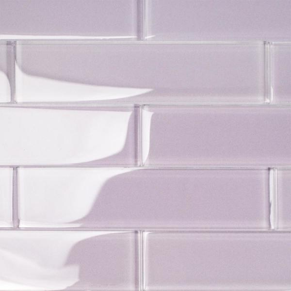 Contempo Purple 2 in. x 8 in. x 8mm Polished Glass Floor and Wall Tile (36 pieces 4 sq.ft./Box)