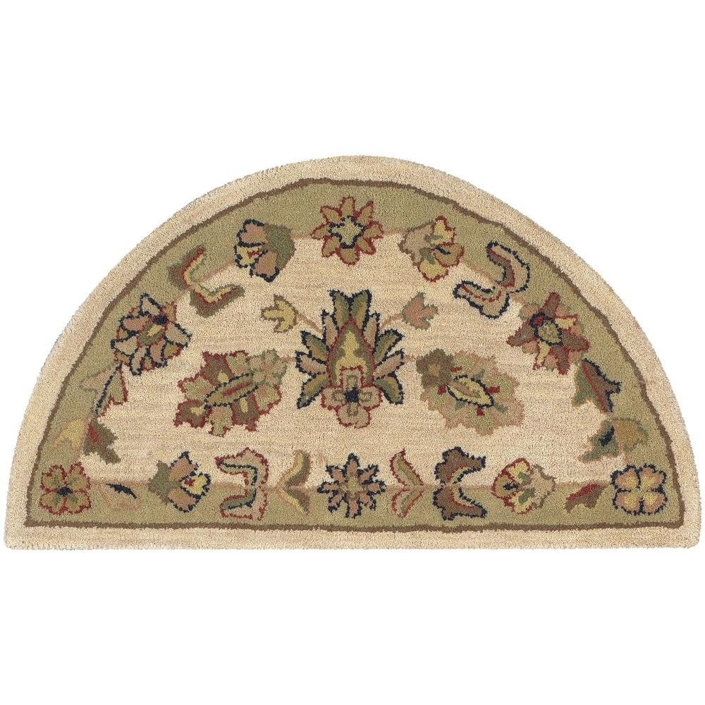 LR Resources Shapes Ivory/Green Half Moon 2 ft. 3 in. x 3 ft. 10 in. Traditional Indoor Area Rug