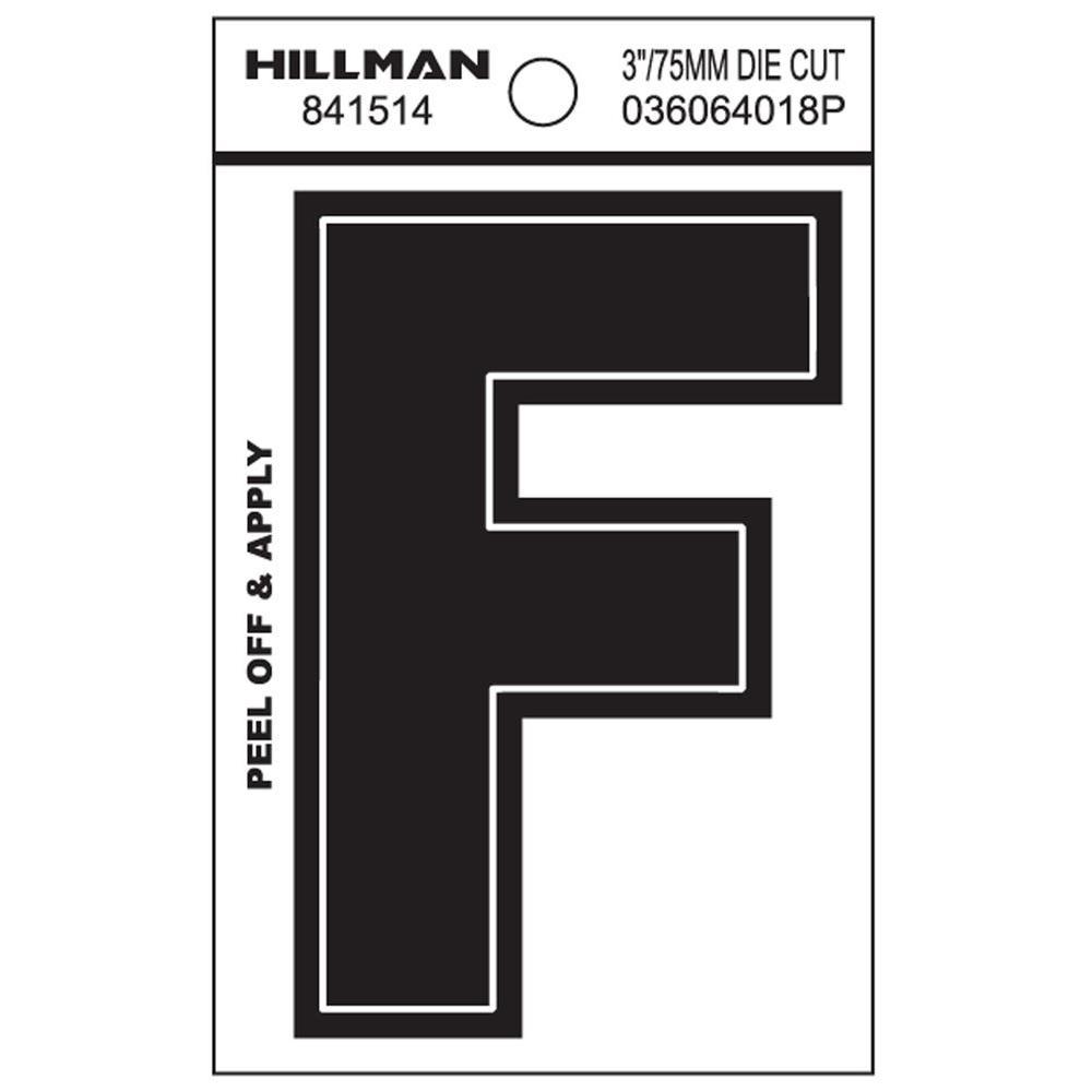 3 in. Black Vinyl Die-Cut Letter F