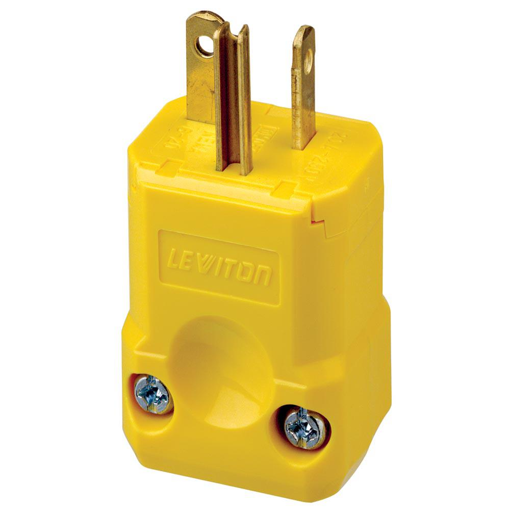 Leviton 20 Amp 250-volt Straight Blade Grounding Plug  Yellow-5456-vy