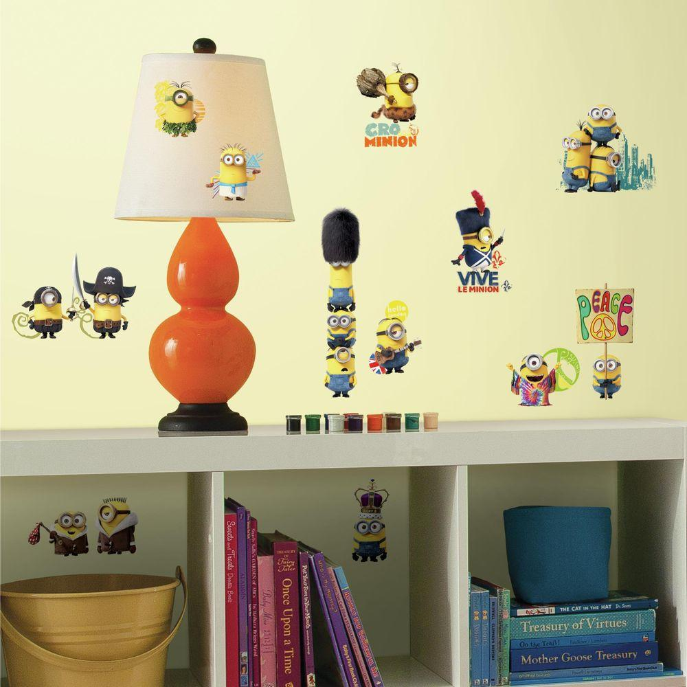 RoomMates 5 in. x 11.5 in. Minions the Movie 16-Piece Peel and Stick ...