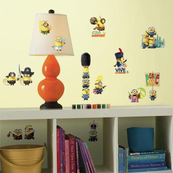 5 in. x 11.5 in. Minions the Movie 16-Piece Peel and Stick Wall Decal