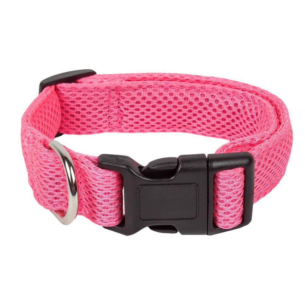 Aero Mesh 360-Degree Breathable Adjustable Mesh Dog Collar, Medium, Pink