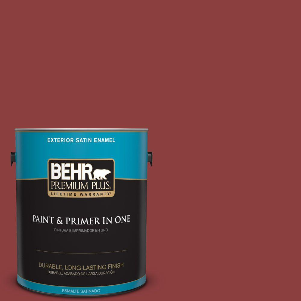 1 gal. #BXC-27 Carriage Red Satin Enamel Exterior Paint and Primer