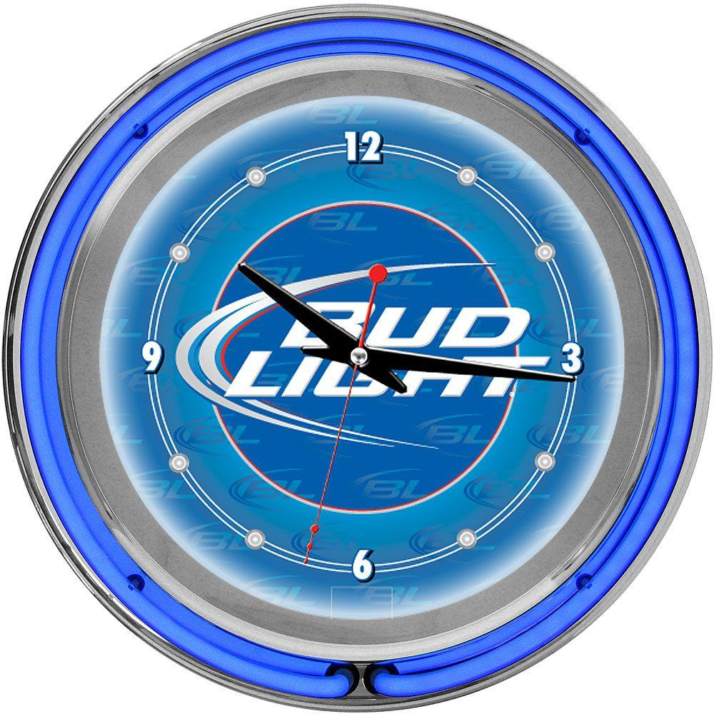 Trademark 14 in. Bud Light Blue Double Ring Neon Wall Clock-DISCONTINUED