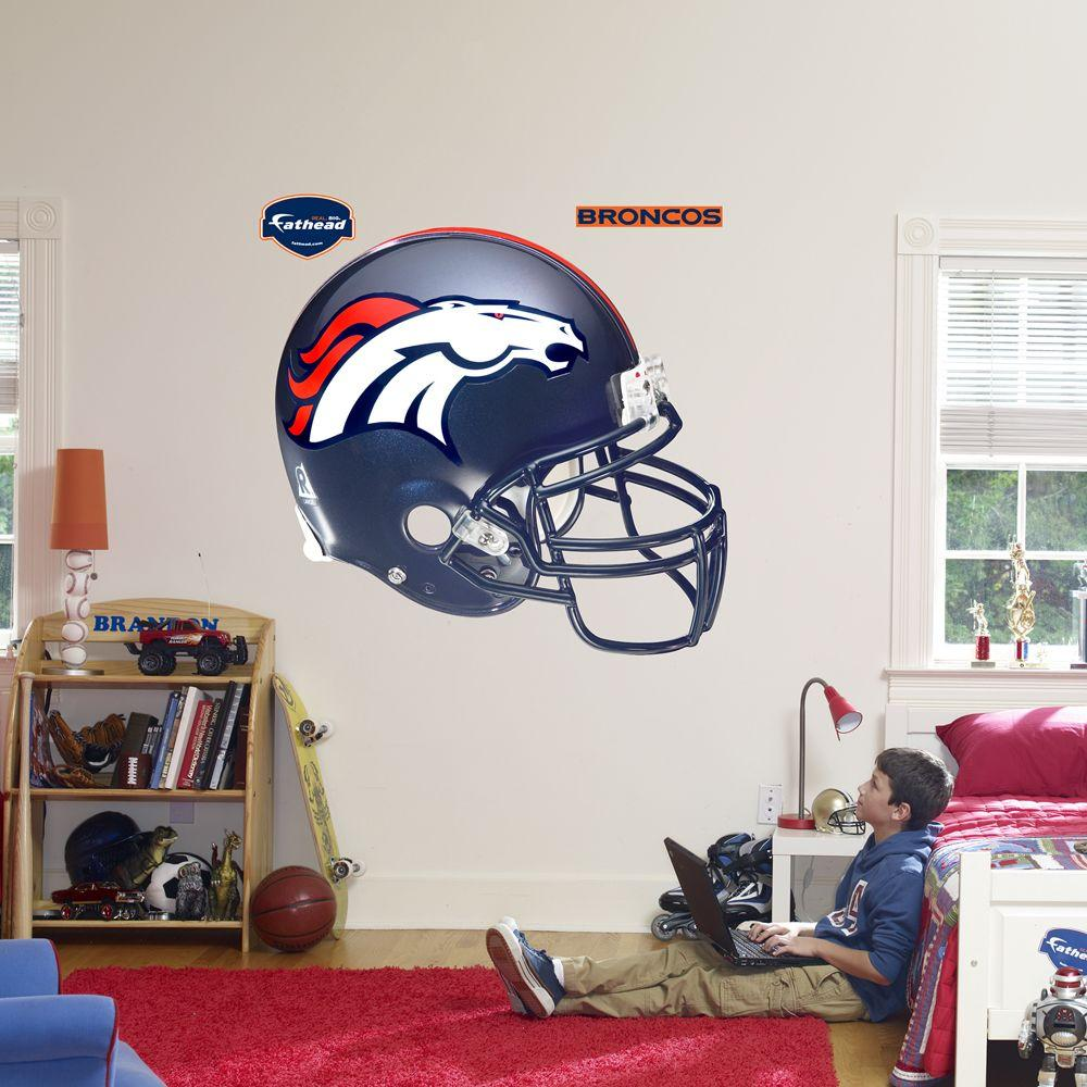 Fathead 57 in. x 51 in. Denver Broncos Helmet Wall Decal