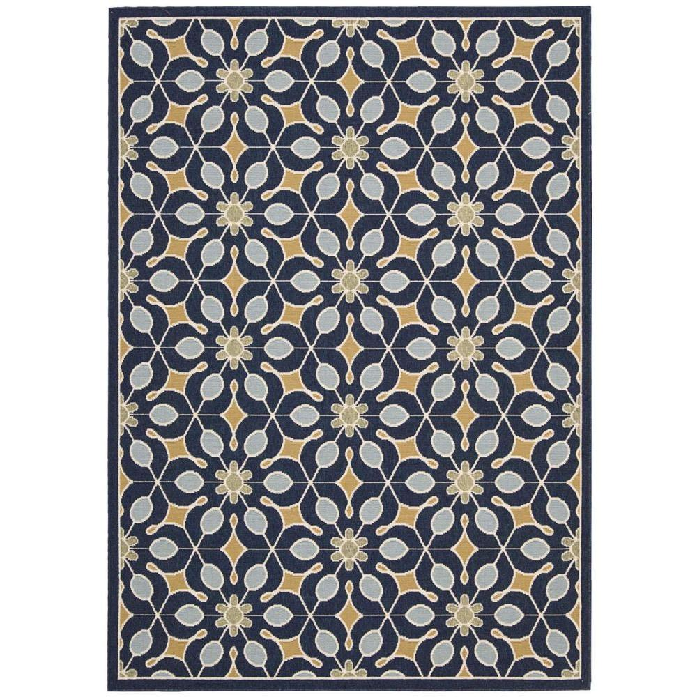 Nourison Caribbean Navy 9 ft. 3 in. x 12 ft. 9 in. Indoor/Outdoor Area Rug